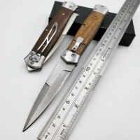 JSSQ couteau de poche pliant damas manche en bois parrain couteaux tactiques survie en plein air couteaux de Combat Camping chasse EDC outil