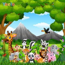 Yeele Children Birthday Party Photography Backdrops Cartoon Animals Safari Jungle Kids Photographic Backgrounds For Photo Studio