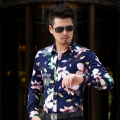 CE09- Autumn L-6XL 7XL Men Shirts Long Sleeve 2017 Print Hawaiian Shirt Men Shirt Dress Camisas Para Hombre