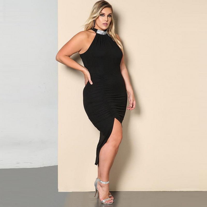 Black Party Dress Women Casual Off Shoulder Dress Sexy Mid Calf