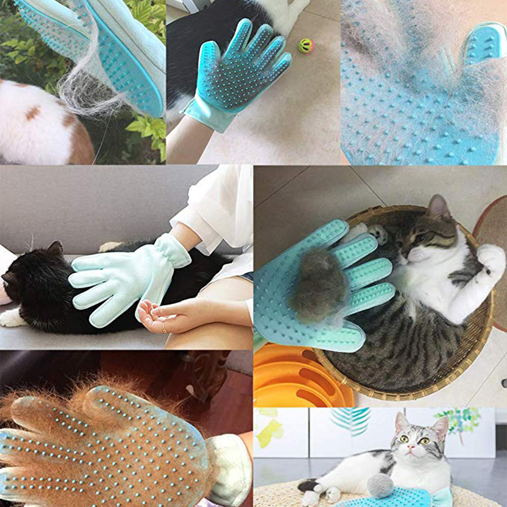 Cute Suede Silicone Pet Grooming Gloves for Hair Cleaning of Dogs and Pets Useful of Combing and Extra Hair Cleaning of Pets Body 4