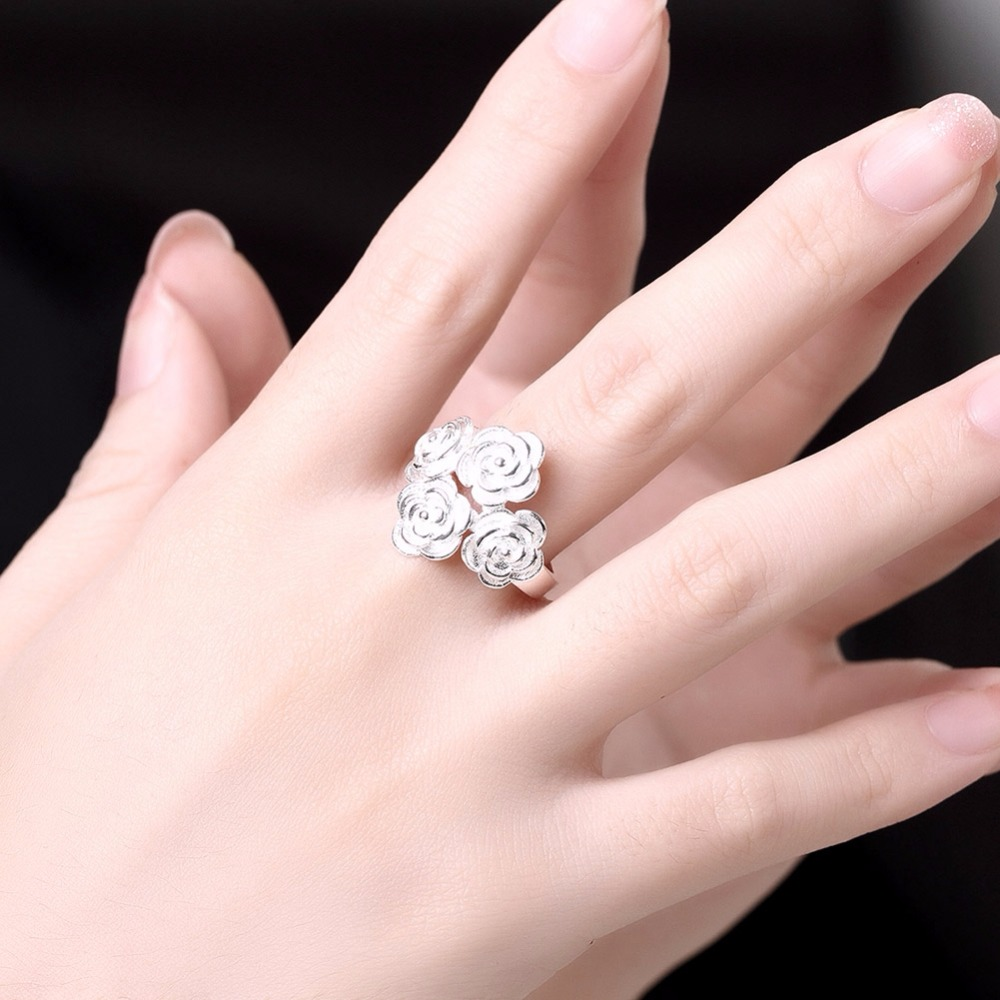 2017 New Women Rings Sliver Color Solid Color Copper Four Flower ...