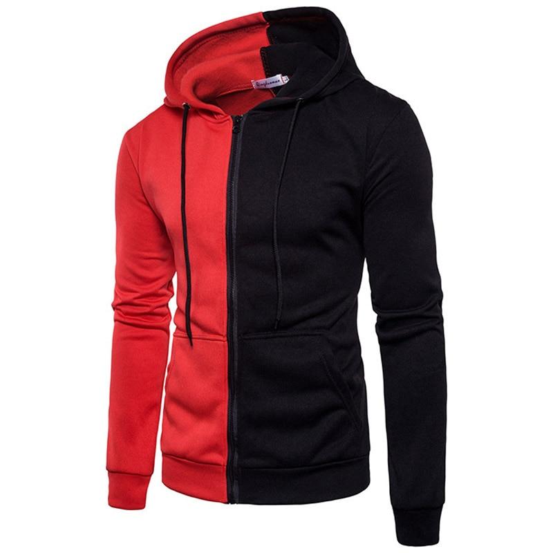 Sports Hoodies Men Patchwork Zipper Warm Workout Training Running Sweatshirt Gym Sport Jackets Fitness Clothes