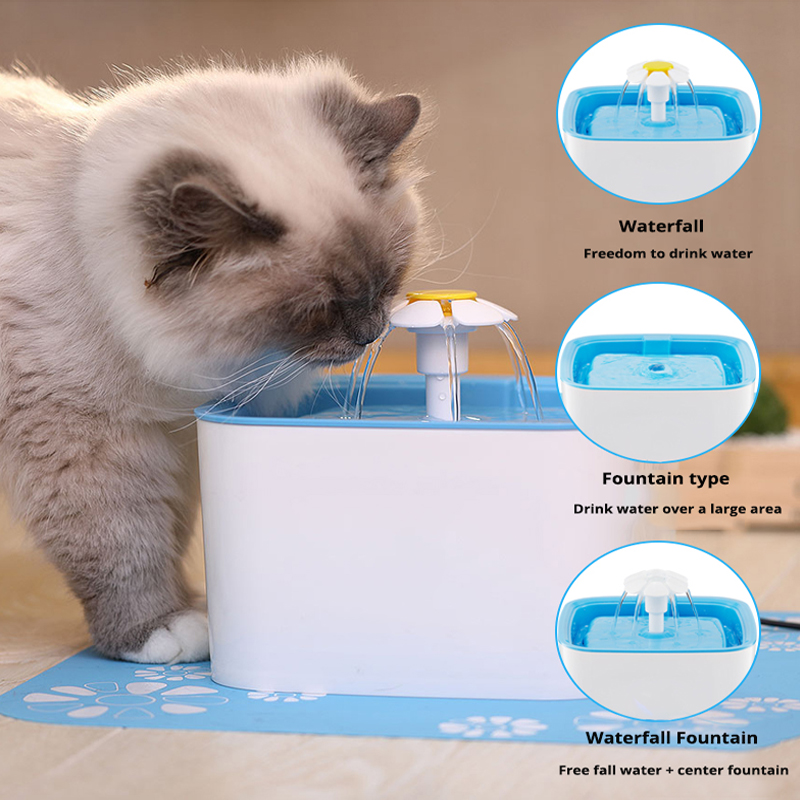 Pet Cat Dog Automatic Drinking Fountain Blue Drinking Water Dispenser Drink Dish Filter Support Drop Shipping