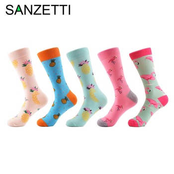 SANZETTI 5 Pairs/Lot  Colorful Men's Combed Cotton Casual Funny Socks Flamingo Pineapple Pattern Street Wear For Birthday Gifts