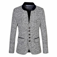 Men's suit coat autumn and winter woolen slim collar long sleeved single breasted / male fashion high quality wool blazer