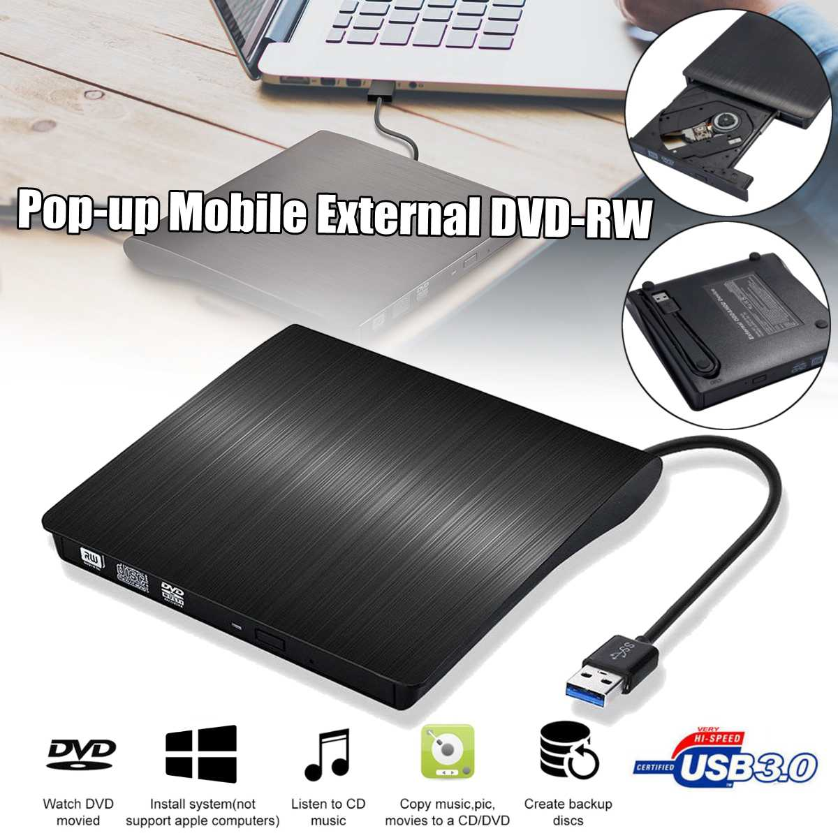 USB 3.0 Slim External DVD RW CD Writer Drive Burner Reader Player Optical Drives For PC Laptop