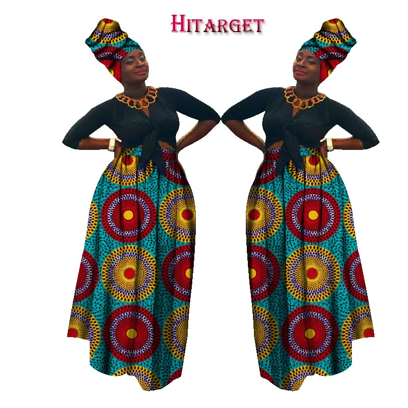2019 Autumn Dashiki African High Waist Ball Grown Skirt Bazin Riche African Skirt+ Headscarf Africaine Pour Les Femme WY1270