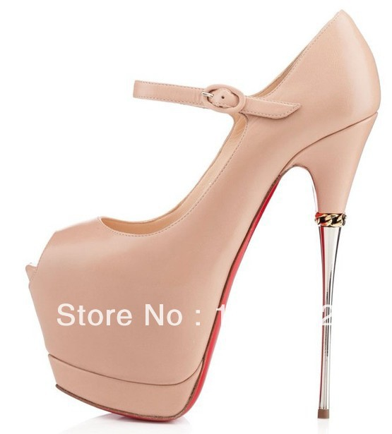 c75453b698ed Wholesale Price Brand Women Pumps Ankle Strap High Heels Red Sole Metal  High Women Genuine Leather Shoes-in Women s Pumps from Shoes on  Aliexpress.com ...