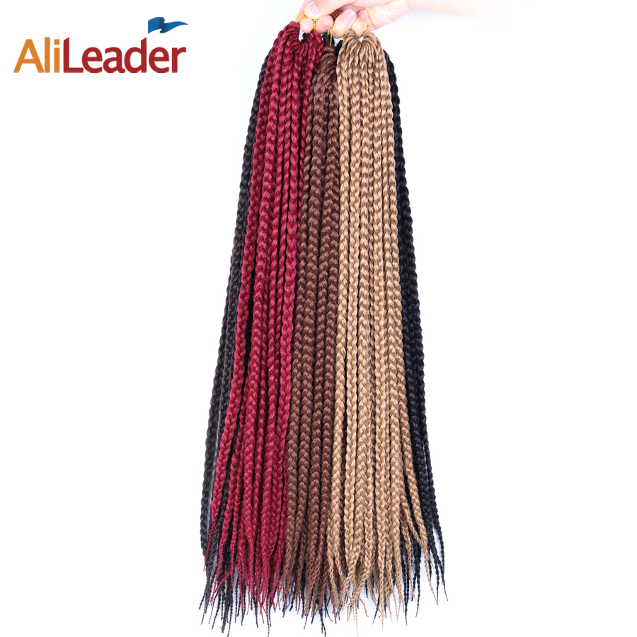 AliLeader Small Box Braids Crochet Hair 12 16 20 24 30 Inch 3S Hand-Made Kanekalon Fiber Synthetic Crochet Braids Hair 12 Colors