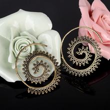 Bohemia Big Circles Earrings Fashion Round Spiral Brass Tribal Hoop Earrings Charms Boho Jewelry For Women Femme Bijoux Gift