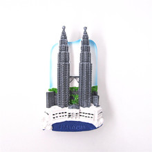 Countries Souvenir Fridge Magnet Malaysia Twin Towers Hand Painted 3D Resin Refrigerator Magnetic Stickers Home Room Decoration