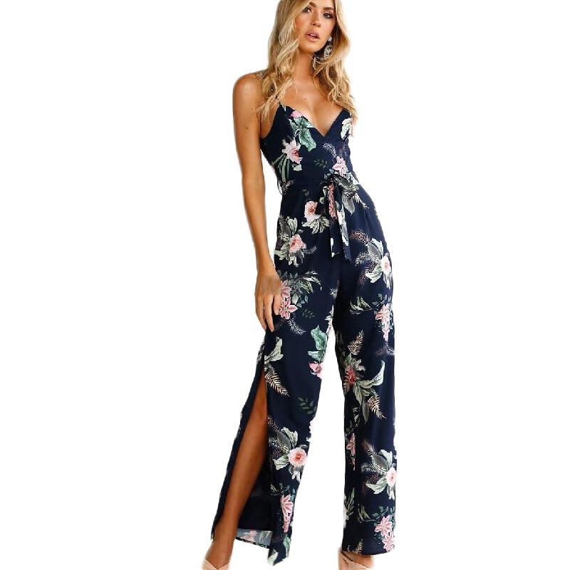 Elegant Bohemian Flower Beach Jumpsuit Romper Strap Backless Sexy Jumpsuit Overall Vintage Floral Split Wide Leg Summer Jumpsuit