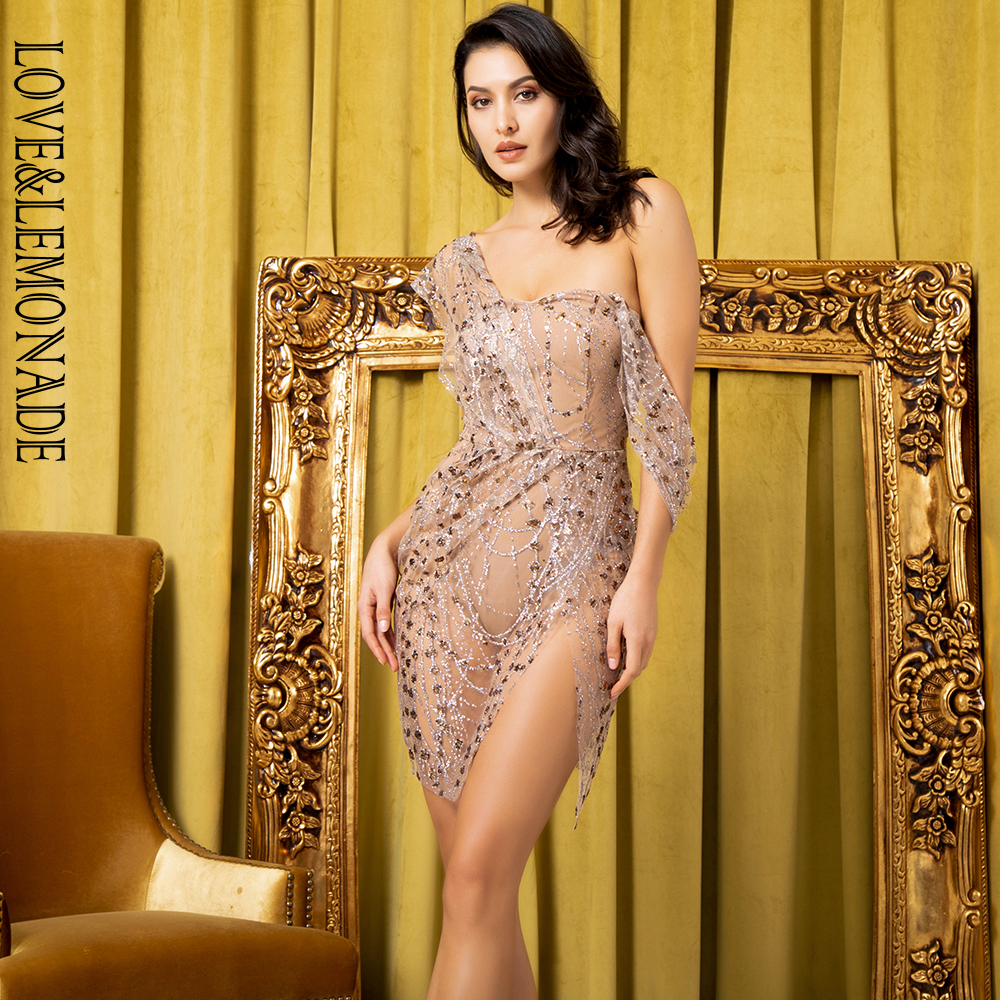 Love Lemonade Sexy Rose Gold Straless Sling Cross Style Glitter Glued Material Party Dress LM80366 1