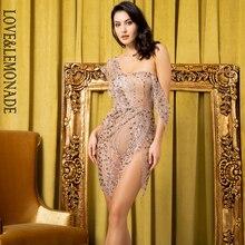 LOVE & limonada vestido de fiesta sin tirantes, color oro rosa, Estilo de cruz, Material encolado brillante, LM80366 1