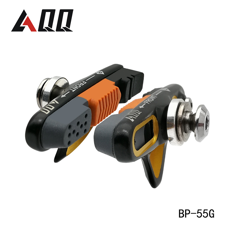 Aqq 1 쌍 도로 자전거 브레이크 패드 자전거 제동 v-브레이크 홀더 신발 고무 블록 내구성 사이클링 액세서리