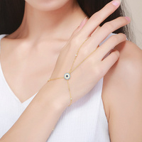 BAMOER Fashion New 100 925 Sterling Silver Gold Color Trendy Blue Eyes Double Layer Bracelets For