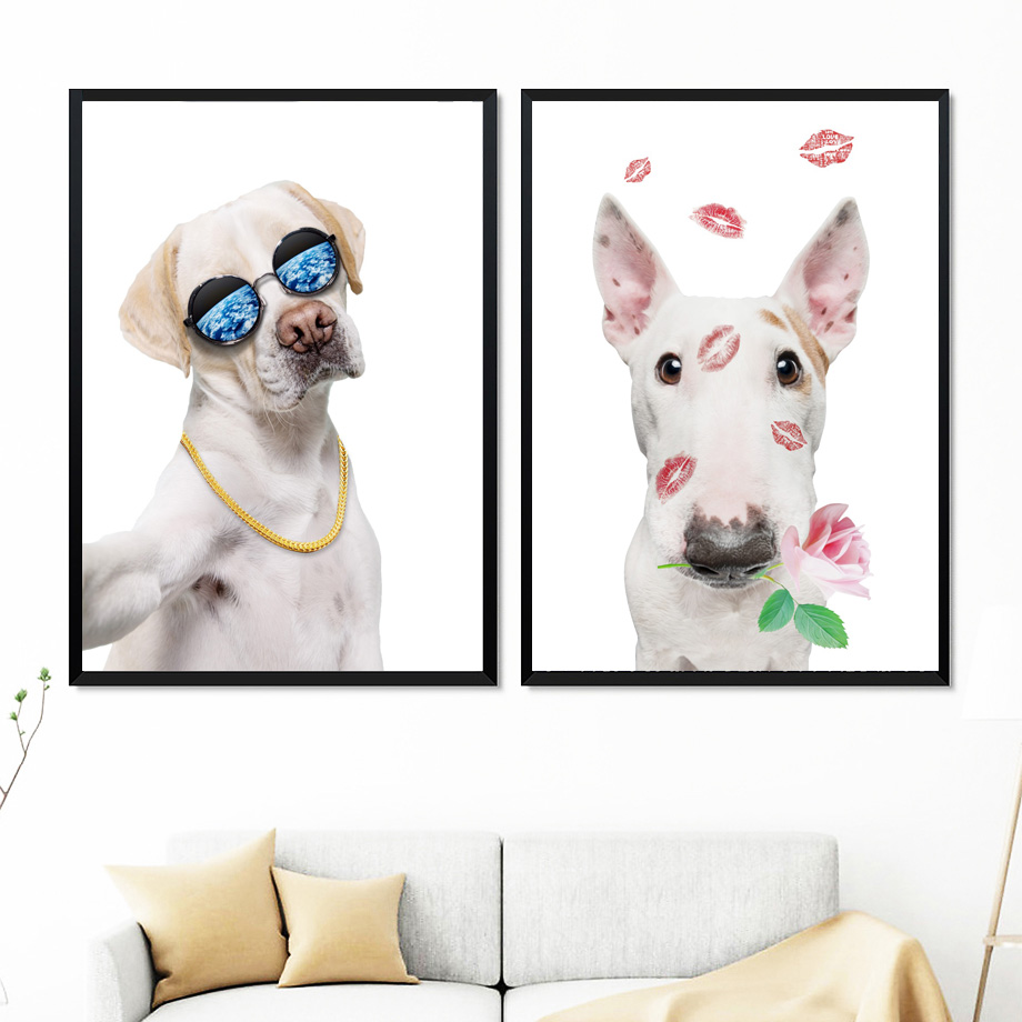 Hound Labrador Bull Terrier Dog Wall Art Canvas Painting Nordic Posters And Prints Animals Wall Pictures For Kids Room Decor in Painting Calligraphy from Home Garden