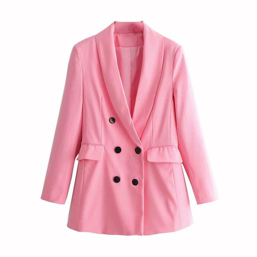 Women Pink Suit Jacket Formal Blazer 2020 Double Breasted Pocket Women Blazer Work Office Business Suit Outwear
