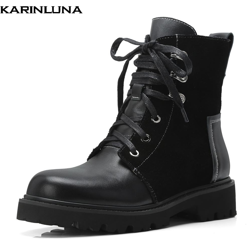 все цены на KarinLuna New Cow Suede Leather Fashion Women Boots Woman Shoes Ankle Boots Lace Up Chunky Heels Martin Boots Shoes Woman онлайн