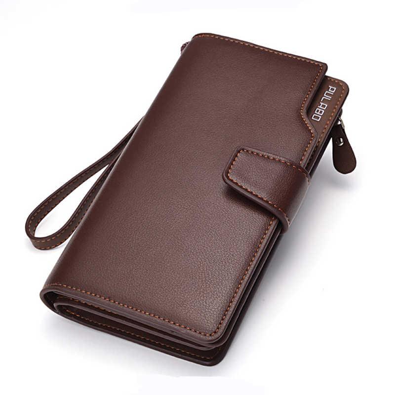 Новые Длинные мужские кожаные кошельки большого объема бизнес дизайнерская сумочка клатч для мужчин держатель для кредитных карт черный коричневый кошелек