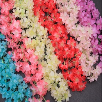 10pcs Artificial Cherry blossoms Flower String Vine Ivy Garland For Decorated wall Wedding Home Party Photo Studio Decorative