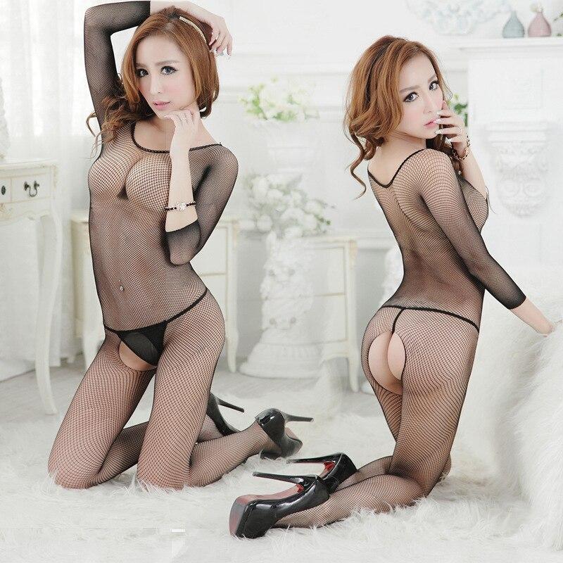 Sexy Siamese netting fishnet stockings Siamese sleeve Babydolls piece netting tight open crotch sexy lingerie women Babydolls