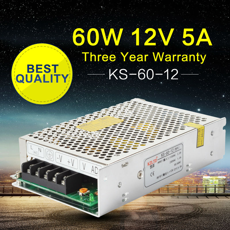 UPS Power Supply 12V 5A 60W LED SMPS Switching Power Supply 12V 5A for Monitor CCTV Radio Led Strip billboard High Efficiency 4pcs 12v 1a cctv system power dc switch power supply adapter for cctv system