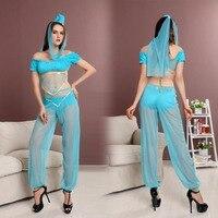 Sexy Women Genie Aladdin Princess Jasmine Costume Fancy Dress Arabian Belly Dancer Dress Halloween Costumes