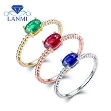 Кольца размеры Foe для женщин Настоящее 14 К золото натуральный изумруд Рубин сапфировое кольцо из драгоценных камней дешевая цена для девочек-подростков ювелирные изделия подарок