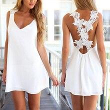 Дешевая Одежда Китай сексуальное Белое платье Для женщин спинки V Средства ухода за кожей шеи крючком цветок Кружево Лето Повседневное пляжные шорты Мини-платья Vestido