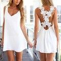 Sexy Mulheres de Vestido Branco Sem Encosto V Pescoço de Crochê Flor Do Laço Verão Praia Ocasional Curto Mini Vestidos Vestido Renda Branco