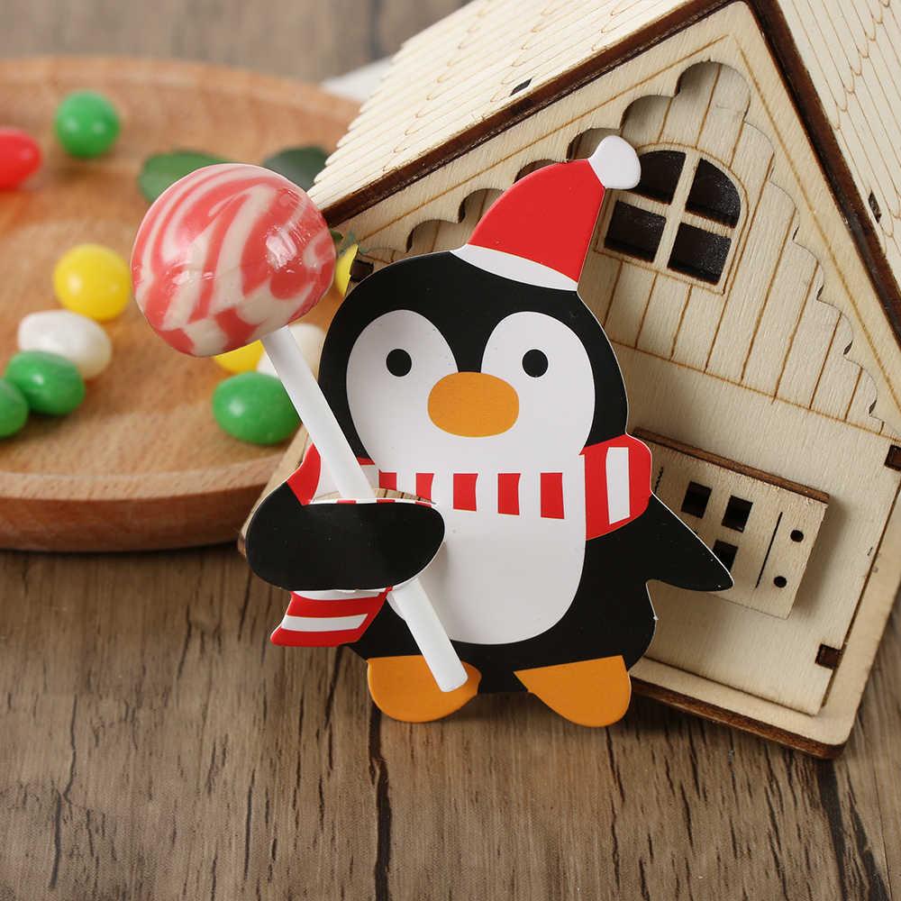50 قطعة عيد الميلاد الاطفال سانتا كلوز البطريق مصاصة عيد الميلاد ورقة الديكور بطاقات الحلوى عيد الميلاد ديكور حفلات