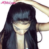 Mslynn 360 Lace Frontal Wigs Pre Plucked With Baby Hair Peruvian Straight Human Hair Wigs For Women Natural Black Remy Hair