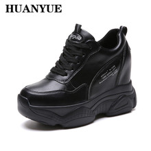 New 2019 Autumn PU Leather Sneakers Hidden Increasing Shoes Women Wedge