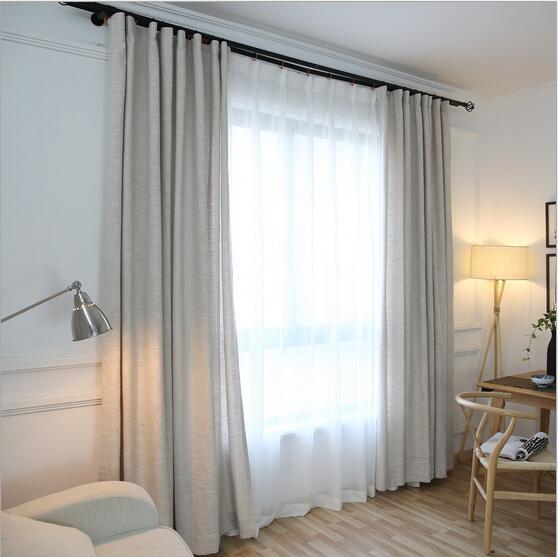 Nouvelle Arrivée lin pur couleur rideau d\'occultation pour salon ...