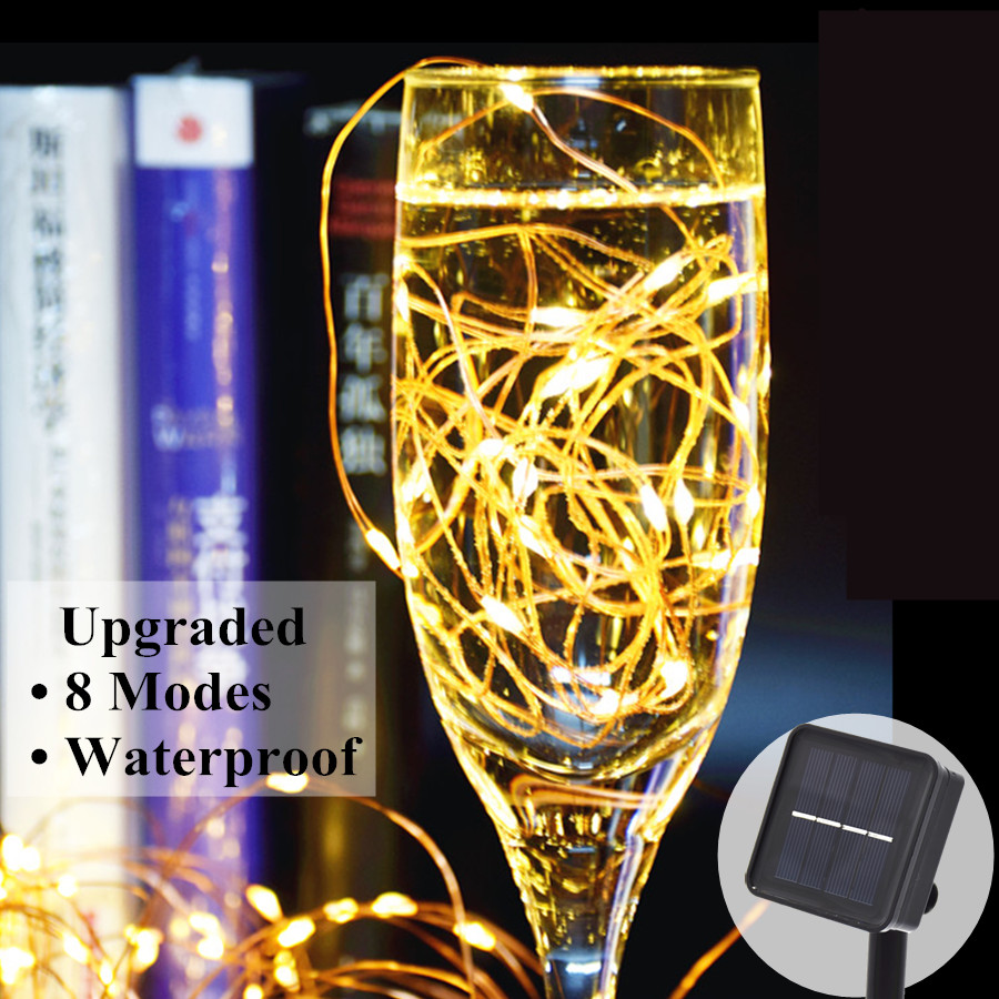 Solar String Lights 10M 100 LED Copper Wire String Fairy Lights Waterproof Christmas Solar Power Lamp