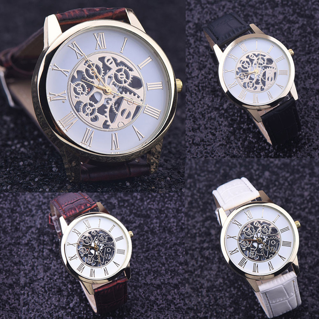 Men Hollow Dial Luxury Casual Business Leather Band Watch Imitate Mechanical Male Wrist Clock