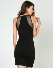 Fashion Woman Black Sleeveless Mini Short Round Neck Mesh Net Yarn Sexy Clubwear Party See Through Summer Dresses