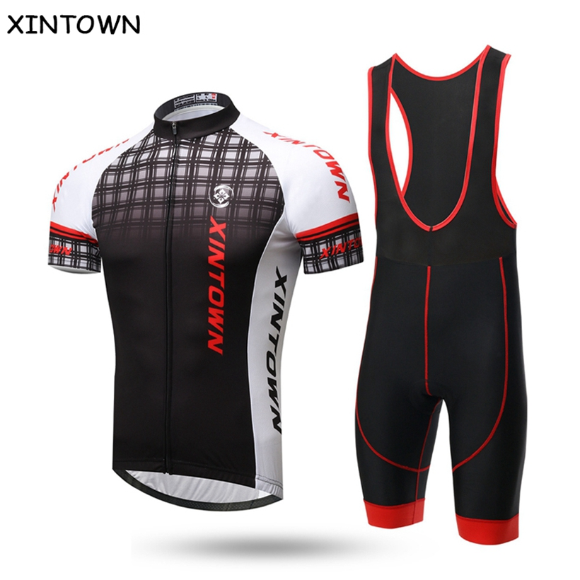XINTOWN Grids Men Ropa Ciclismo Summer Team Cycling Jersey bib shorts set Bike Short Sleeve Sports Clothing Bicycle Accessories santic short sleeve cycling jersey bib shorts pad sets conjunto ciclismo manga cycling bike sports clothing mct031