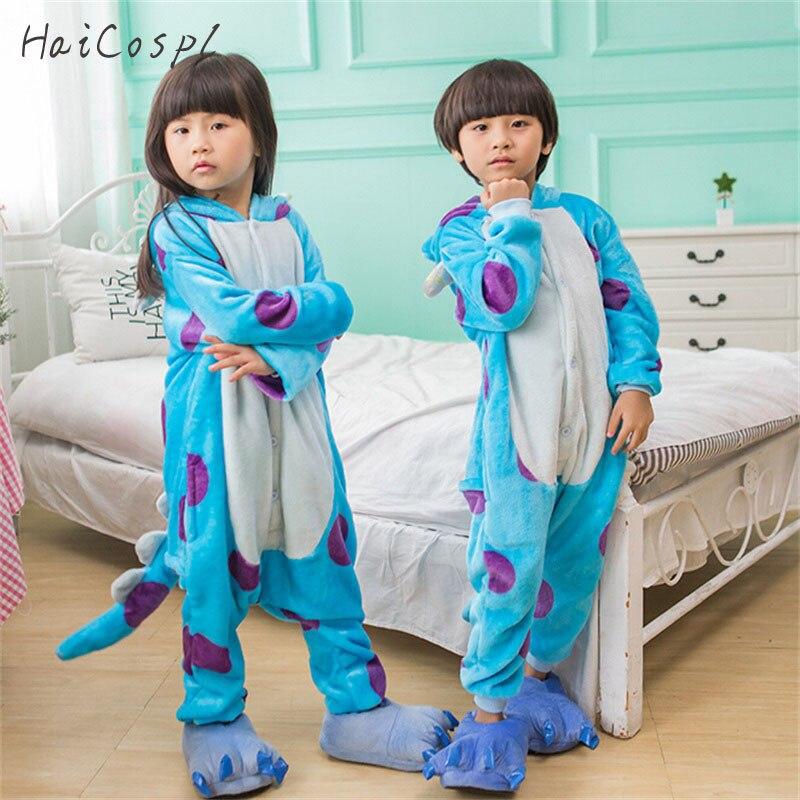 Sullivan Kigurumi Costume Kid Onesie Anime Cosplay Blue Monsters University Boys Girls Mascot Flannel Warm Party Wear Funny Suit