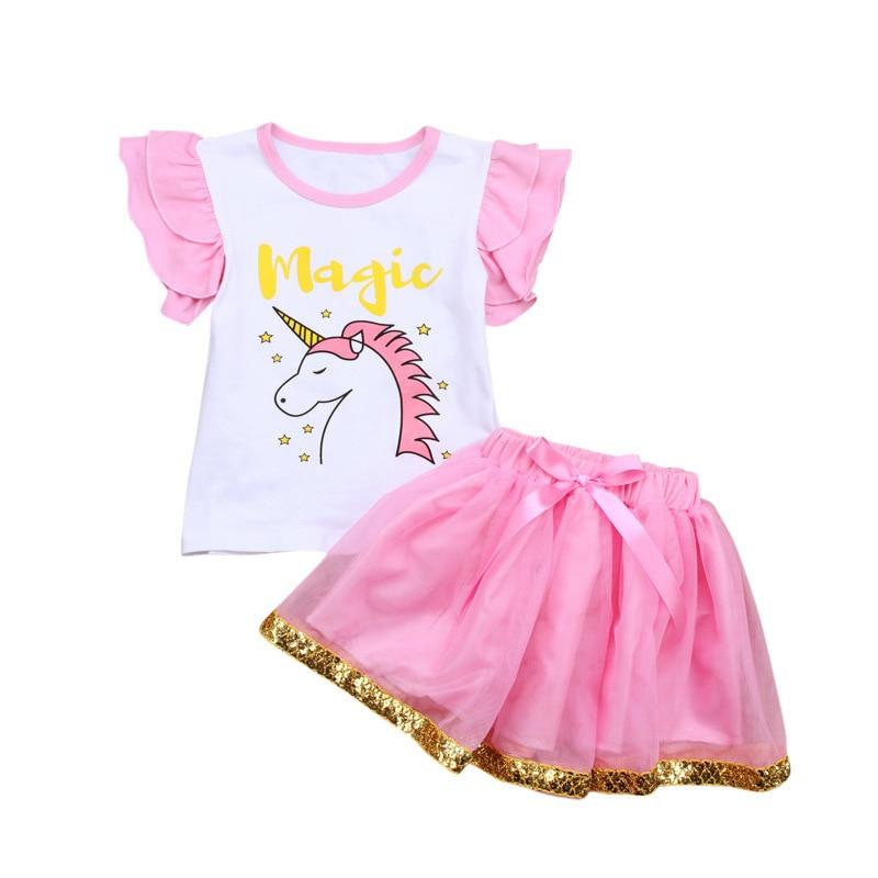 DHL EMS Free 2018 New Unicorn 2pc Baby Suit Short Sleeve T Shirt Tutu Skirt Cartoon Clothing Holiday wear Baby Girls Clothing