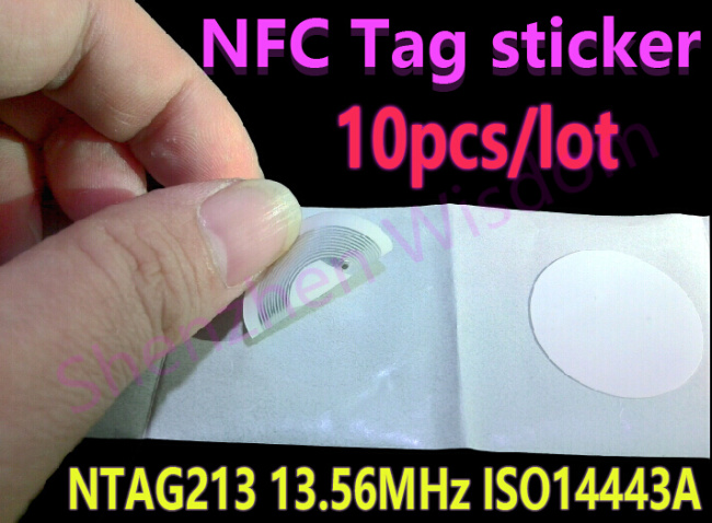 10pcs NTAG213 NFC Tags 13.56MHz ISO 14443A  All NFC Phone Available Ntag 213 NFC Tag Sticker Adhesive Labels