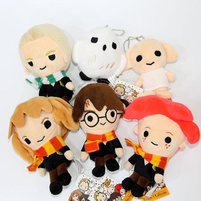 12cm Harry Potter Plush Toys Doll Q Version Harry Malfoy Hermione Dobby Owl Hedwig Plush Pendant Soft Stuffed Toys for Kids Gift