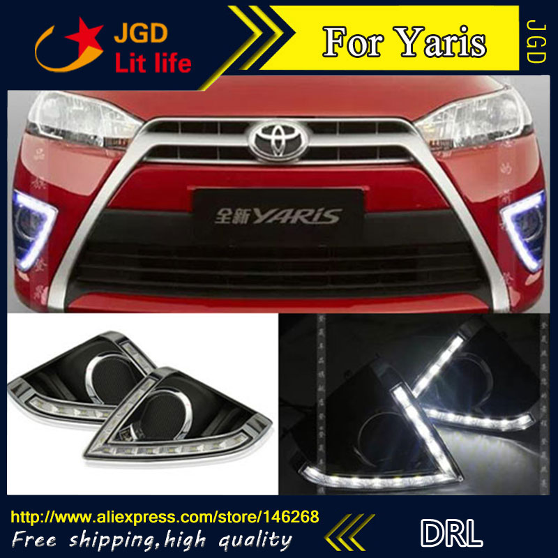 Free shipping ! 12V 6000k LED DRL Daytime running light for Toyota YARiS 2014 fog lamp frame Fog light Car styling hot sale 12v 6000k led drl daytime running light for toyota corolla 2007 2010 plating fog lamp frame fog light