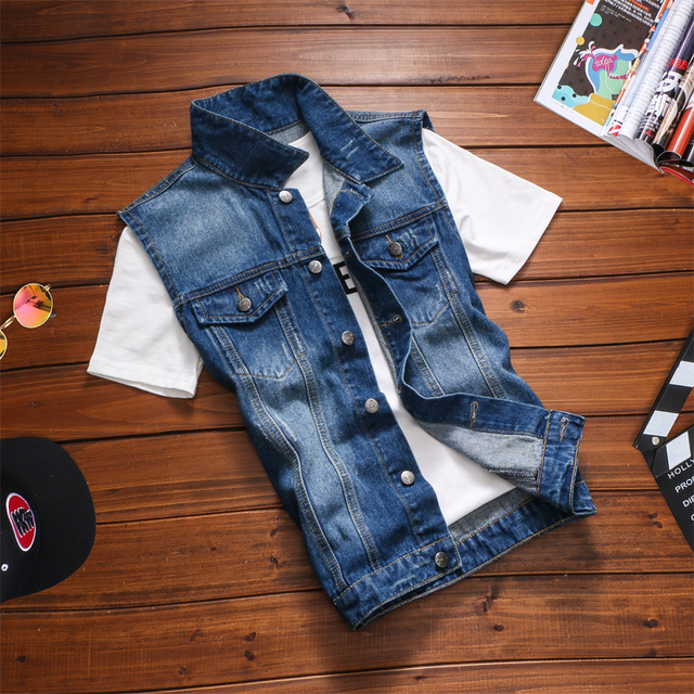 T aliexpress cheap wholesale 2016 spring and autumn new male denim vest sleeveless outerwear men denim vest teenage vest print