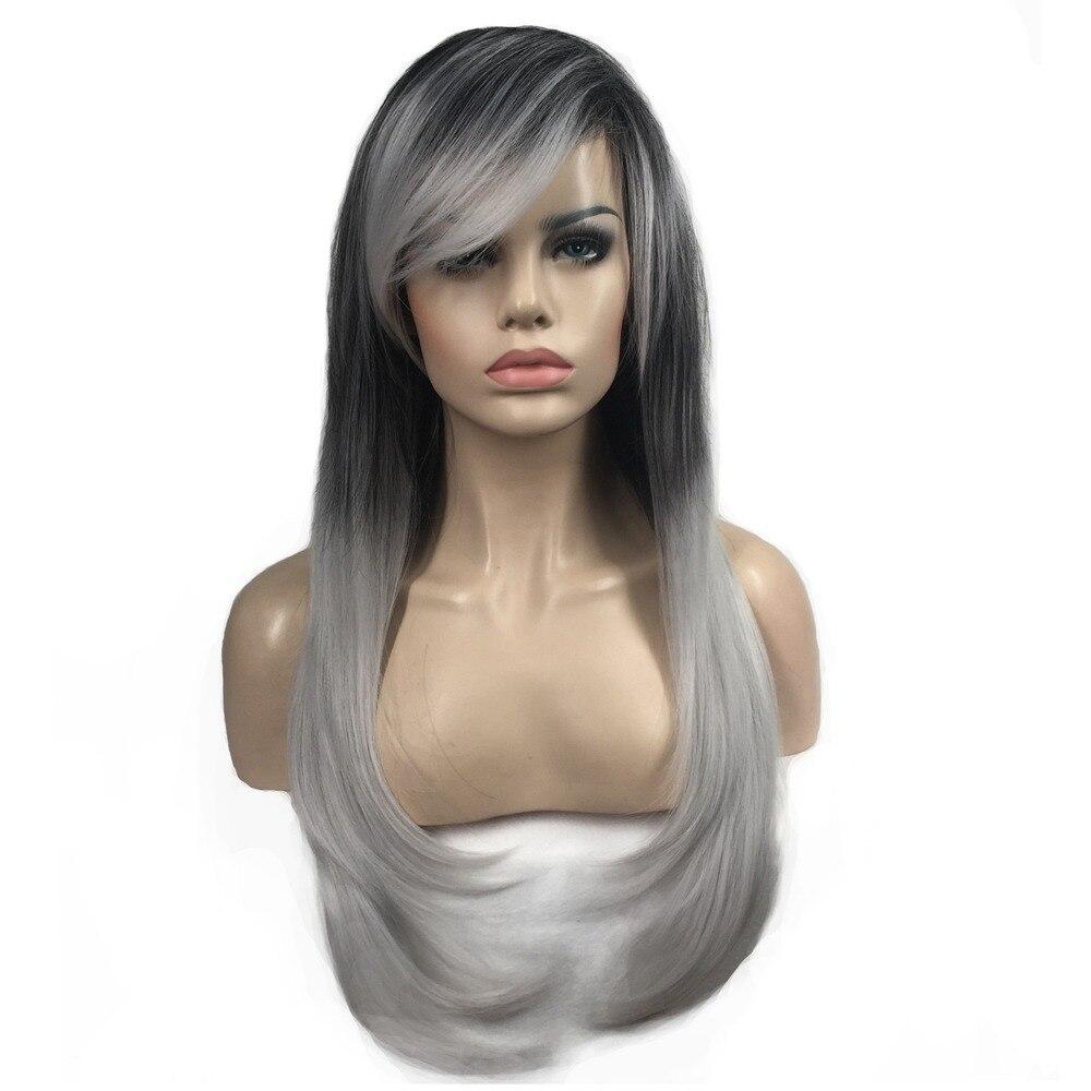 Strongbeauty Для женщин Искусственные парики серебристый/черный Ombre Боб Длинные прямые волосы Синтетические Полный парик