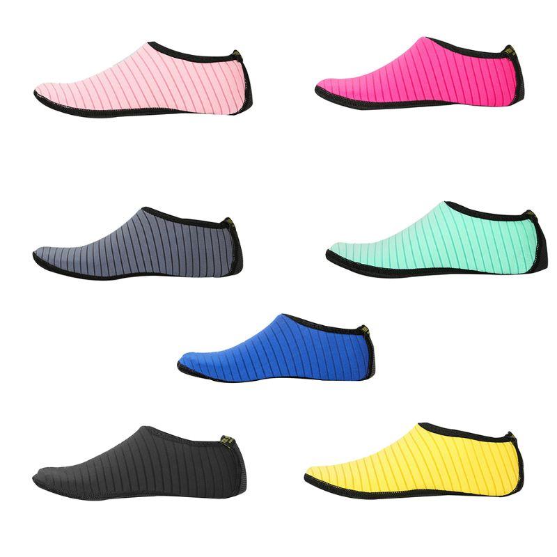1 Pair Stripes Design Swim Shoes Unisex Anti Slip Socks Beach Pool Surfing Yoga Not Absorbing