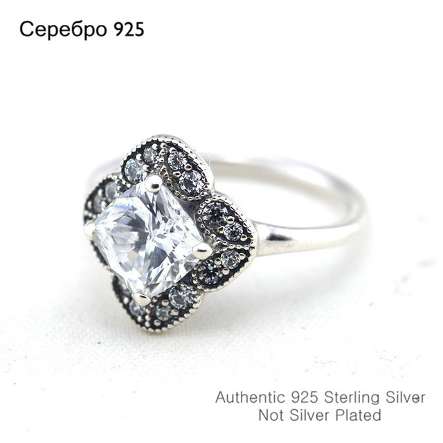Compatible with European Jewelry Crystalized Floral Fancy Silver Rings Original  Sterling Silver Rings DIY Wholesale