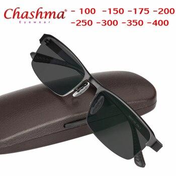 近視サングラスフォトクロミック完成男性女性近視眼鏡フレーム付きカラーレンズサングラス近視アイウェア-1.0-1.5
